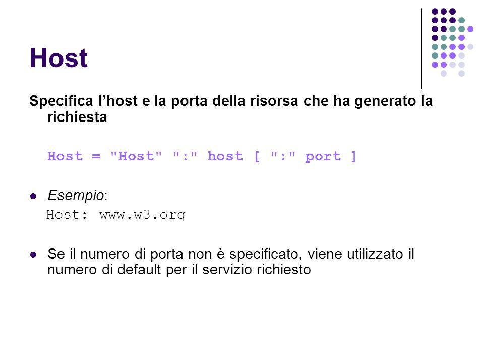 Host Specifica l'host e la porta della risorsa che ha generato la richiesta. Host = Host : host [ : port ]